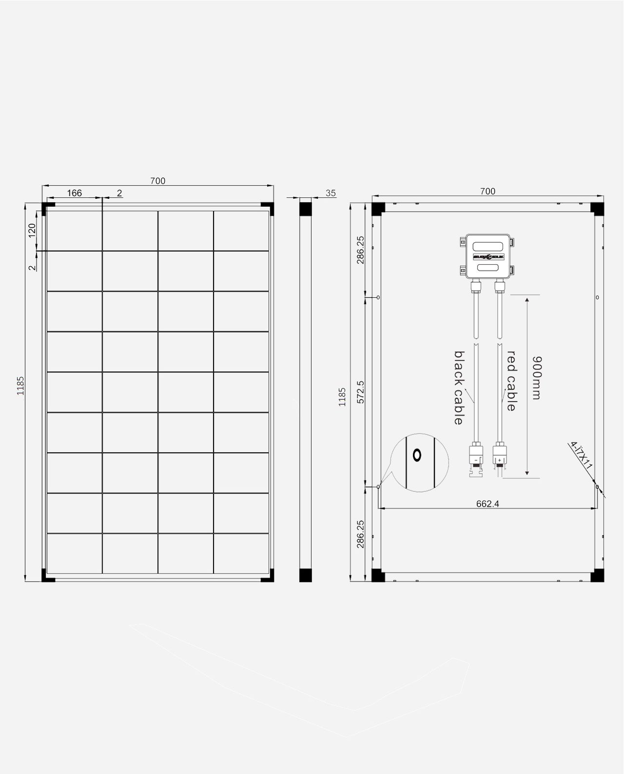 150 Watt Zonnepaneel 9BB PERC Monokristal afm: 1185x700 mm.