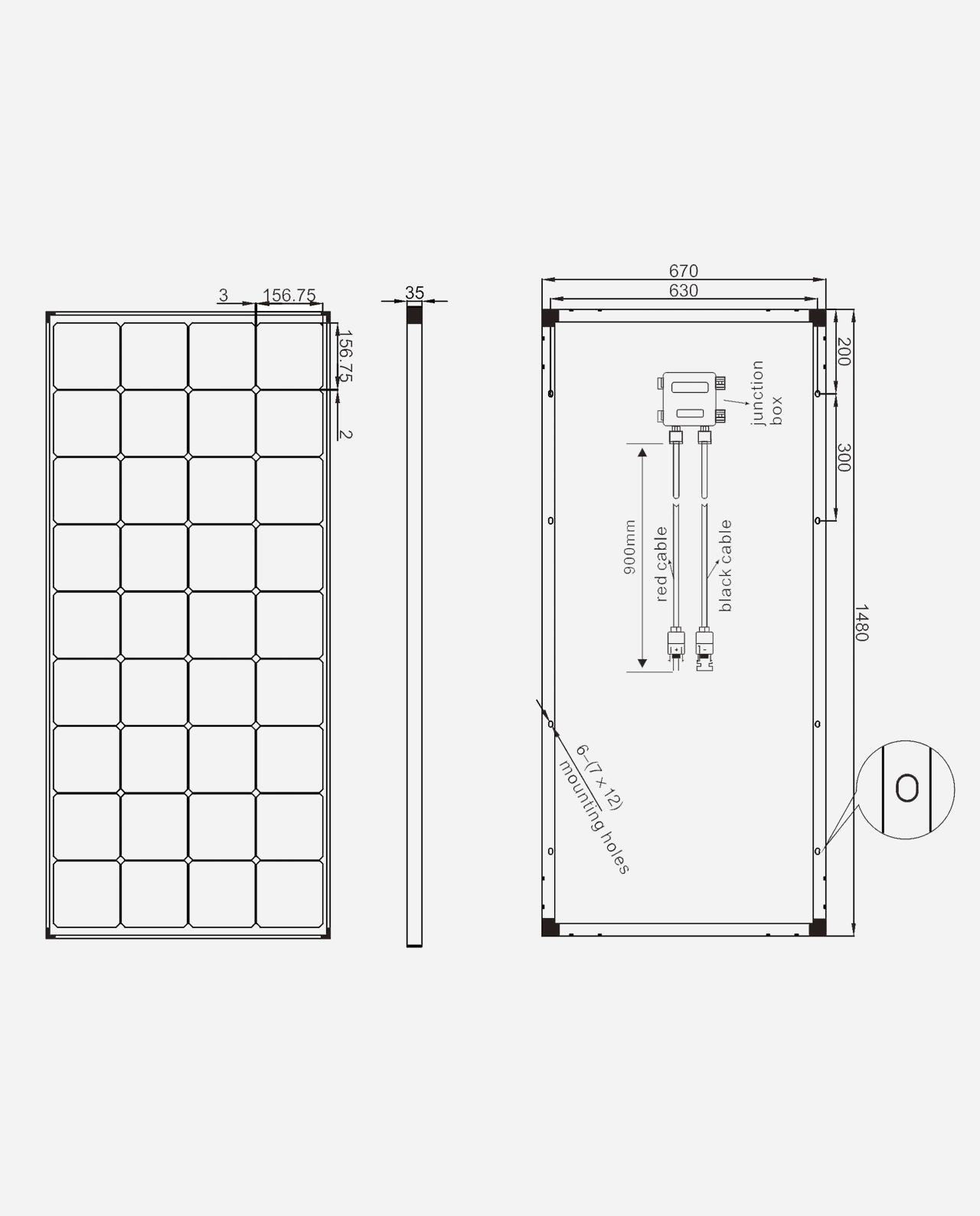 170 Watt Zonnepaneel Full Black Monokristal afm: 1480x670 mm