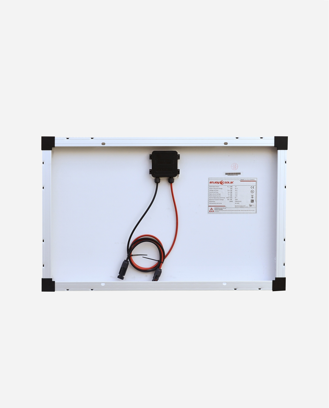 50 Watt Zonnepaneel 9BB PERC Monokristal afm: 700x435 mm.