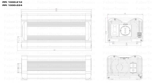 1000W Omvormer 12V naar 230V Xenteq PurePower PPI 1000-212
