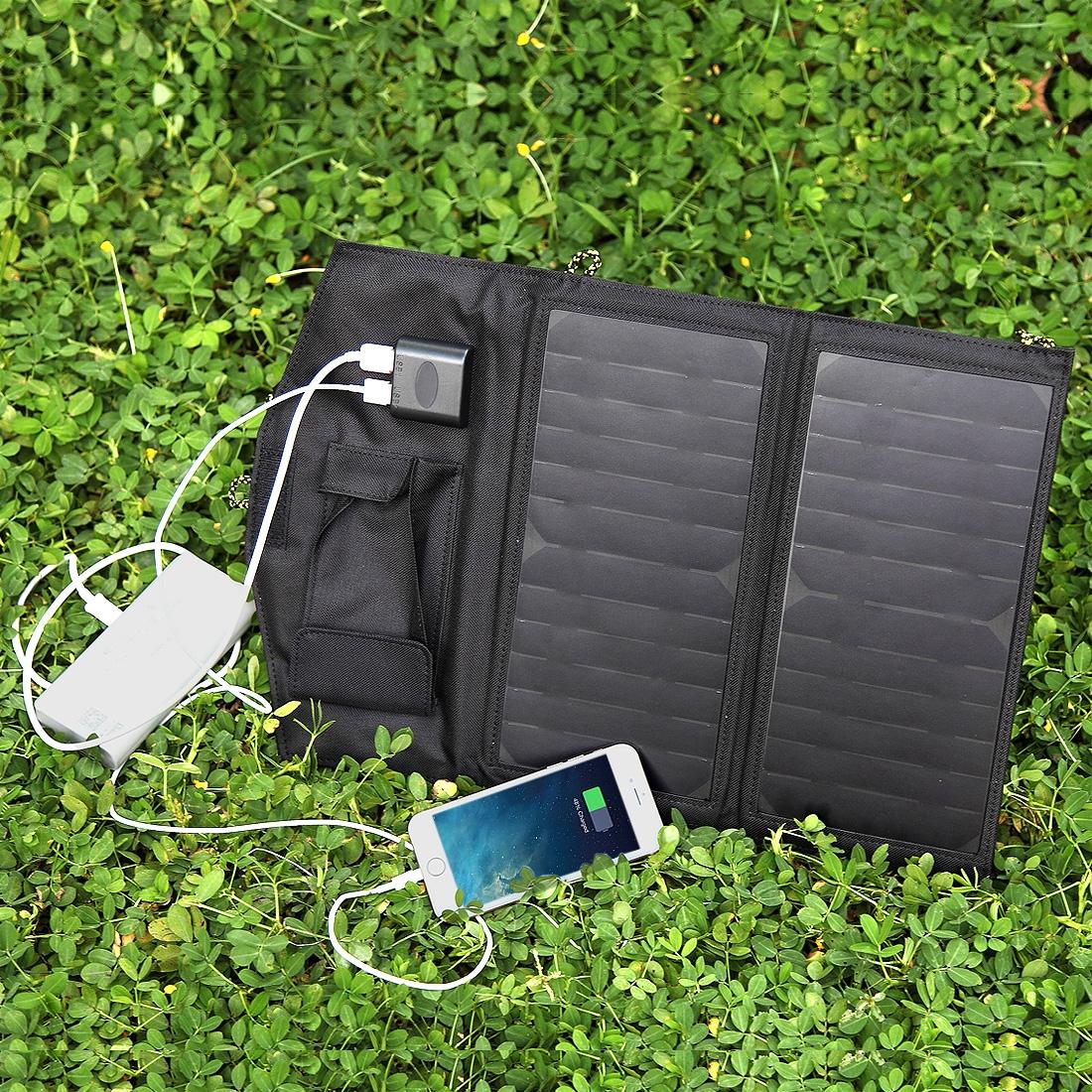 14 Watt Zonnepaneel USB Telefoon Tablet Oplader Zwart