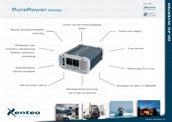 1500W Omvormer 12V naar 230V Xenteq PurePower PPI 1500-212