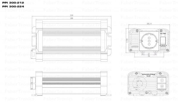 300W Omvormer 12V naar 230V Xenteq PurePower PPI 300-212