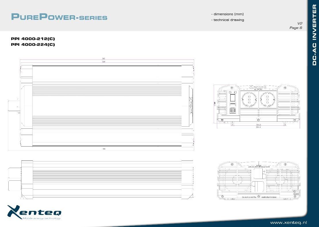 4000W Omvormer 24V naar 230V Xenteq PurePower PPI 4000-224