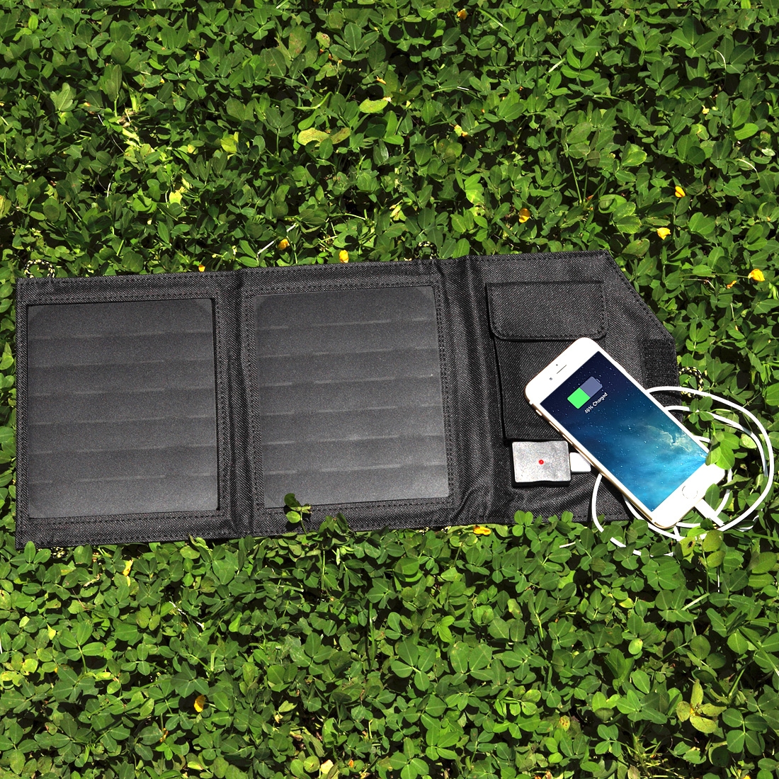 7 Watt Zonnepaneel USB Telefoon Oplader Zwart