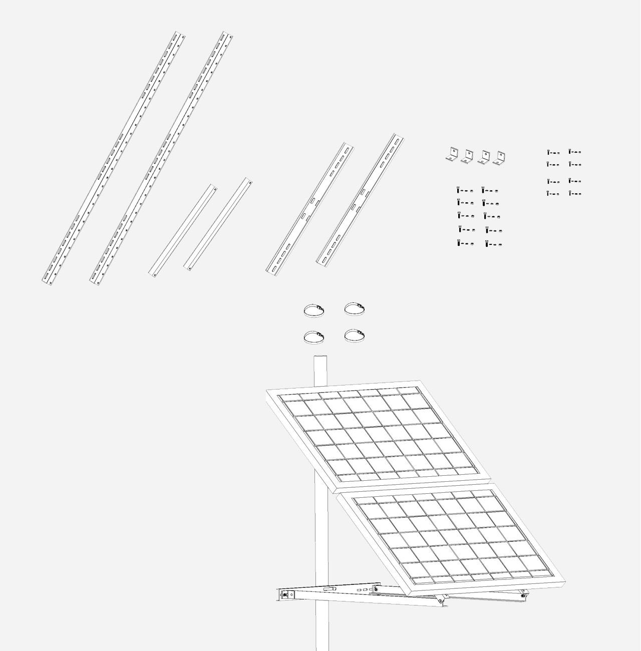 Aluminium Mastbeugel dubbel paneel groot Hellingshoek 30-60°