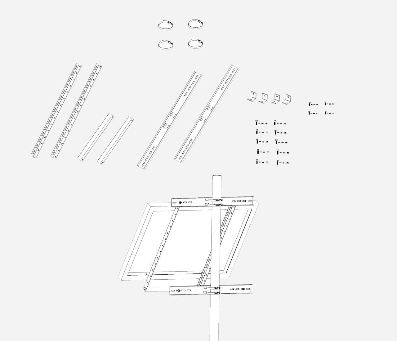 Aluminium Mastbeugel enkel paneel groot Hellingshoek 30°-60°