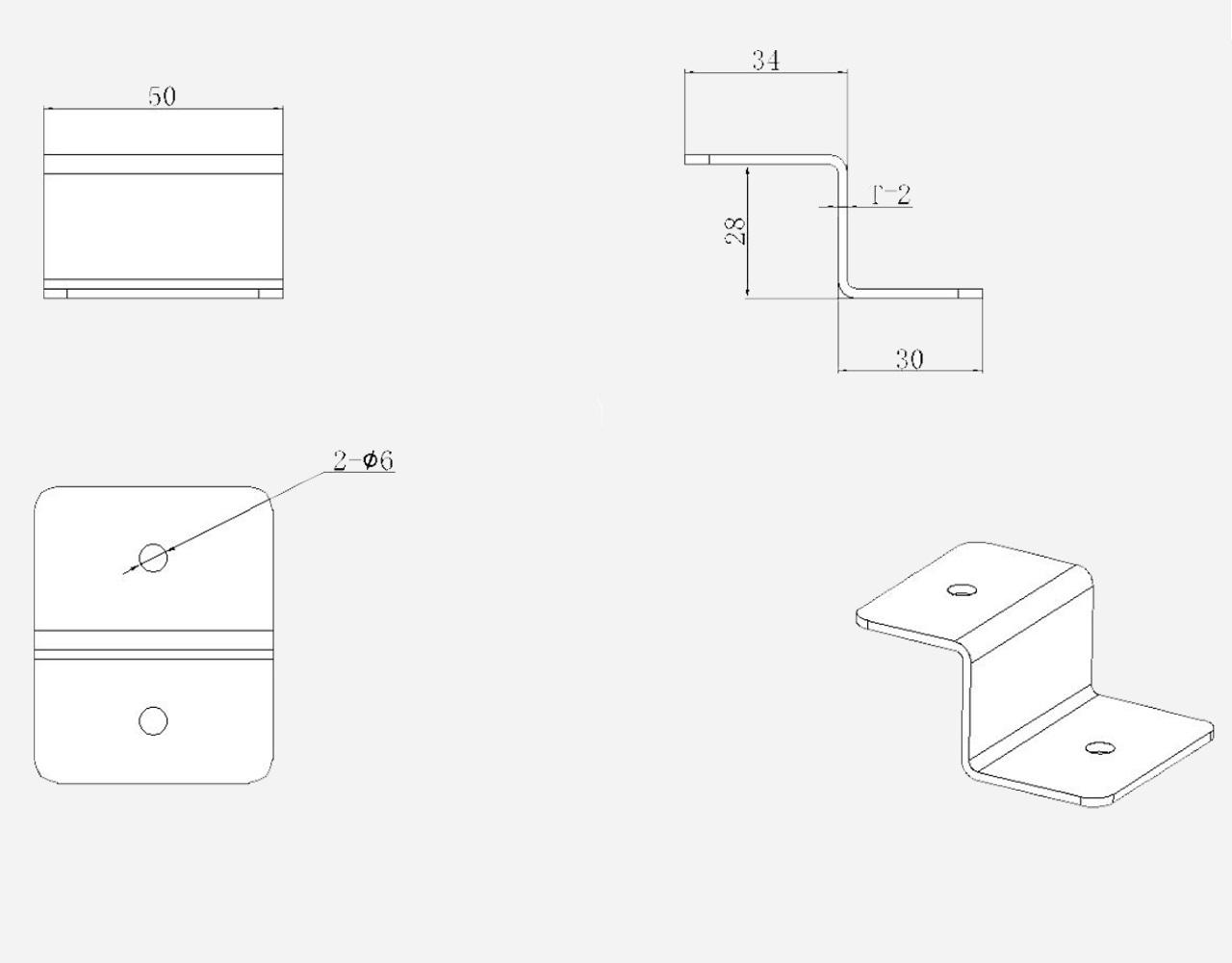 Aluminium Montage Set Zonnepanelen Z-beugels b.50mm. h.30mm.