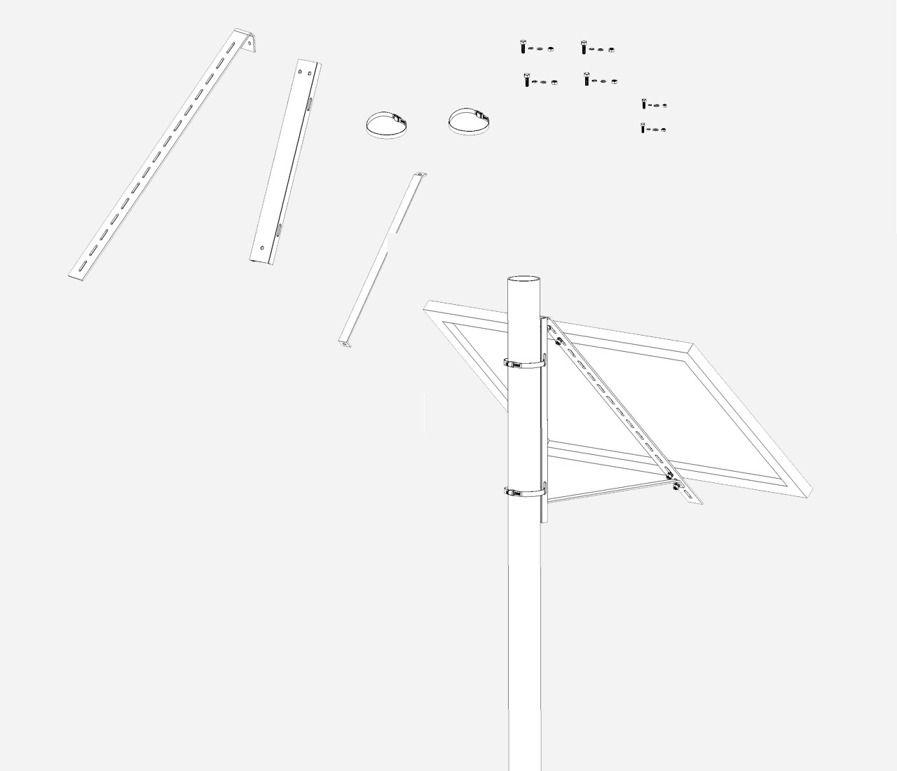 EnjoySolar® Aluminium Mastbeugel klein Hellingshoek 45°